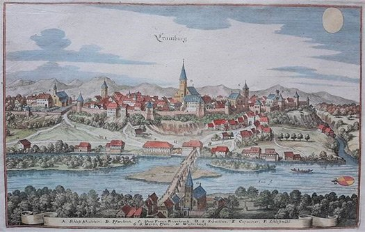 The oldest known depiction of Kranj – hand-painted copperplate engraving by Matthäus Merian from 1649
