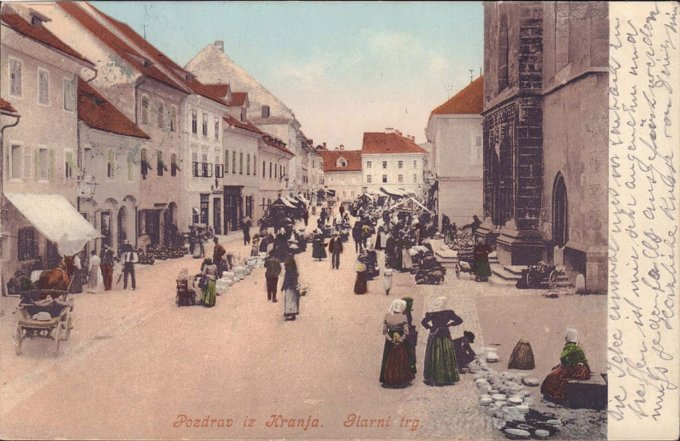 Kranj, fair day, postcard from the end of the 19th century